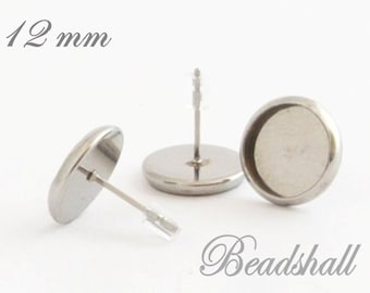 10 stud earrings stainless steel socket for cabochons 12 mm with ear stopper silicone