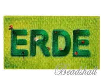 Ironing pattern Recycl patch earth threads from PET bottles application Environmental protection