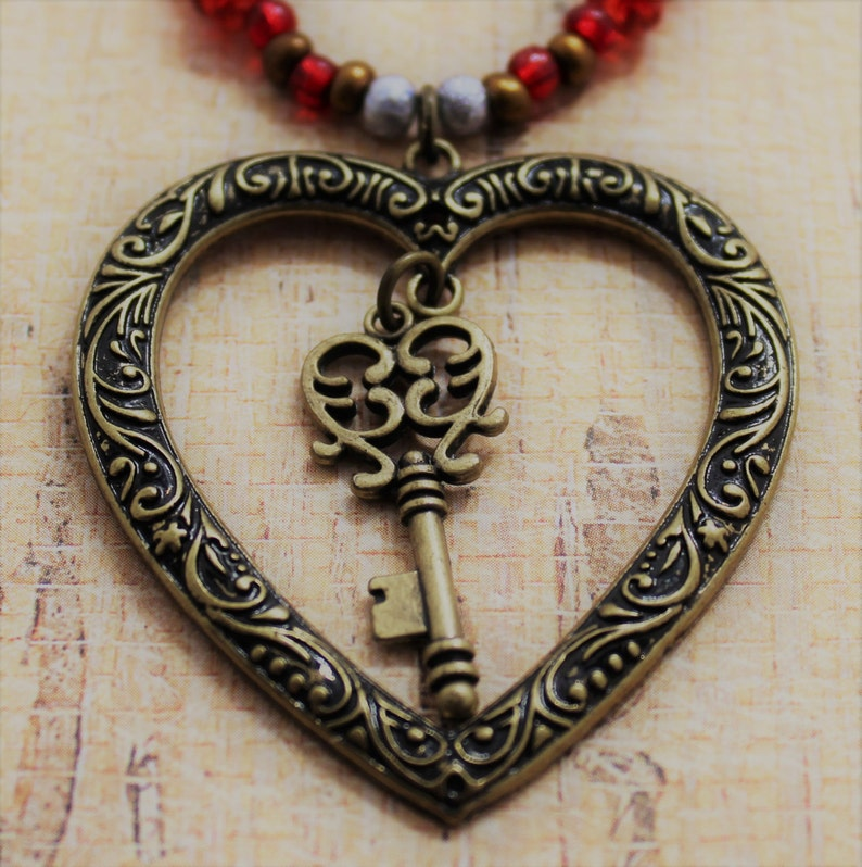 Beaded Necklace Heart Necklace Colored Glass Beads Heart And Key Pendant Antique Bronze Heart And Key