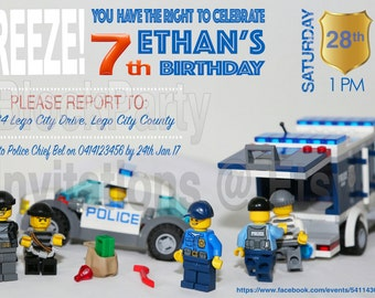 Brick City Police Birthday Party Invitation