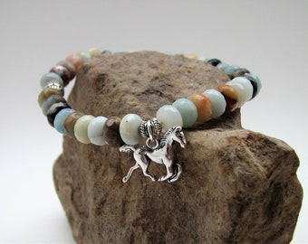 Faceted Amazonite Gemstone, Silver Accent and Horse Charm Stretch Bracelet