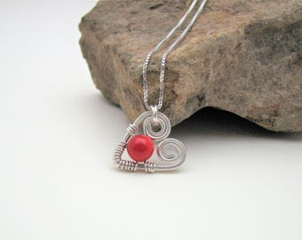 Sterling Silver Hand Forged and Wire Wrapped Red Bamboo Coral Heart Pendant on Sterling Chain Necklace