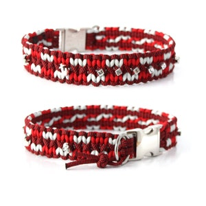 with heart beads dog collar optionally with engraving Paracord choker Arrow
