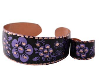 Floral Purple Copper Cuff Bracelet and Ring Set