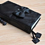 FREE SHIPPING Leather Journal, All Black Leather Diary, Leather Notebook, Traveler's Notebook, Leather Fauxdori w/ Spine - Custom Size