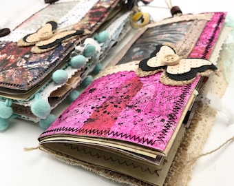 Handmade Junk Journal Deutschland, Handmade Standard Size Refillable Altered Notebook Inserts w/ Cute Leather Cover & Fabric Pocket Inserts