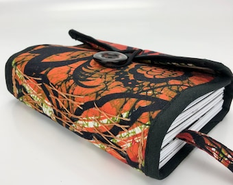 A6 Fabric Journal, A6 Notebook from Fabric Scraps, Orange A6 Handmade Notebook Free Shipping