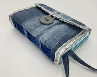 A6 Fabric Journal, A6 Notebook from Fabric Scraps, Blue & Silver Color A6 Handmade Notebook Free Shipping