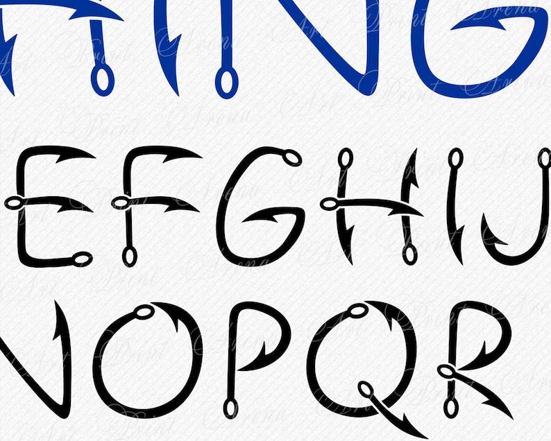 Fish Hook Fishing SVG Font Fishing Letters Svg Hook
