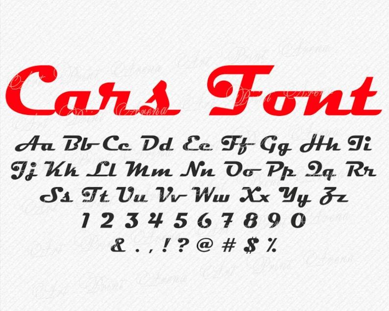 Cars inspired Font svg, Disney Cars inspired SVG font