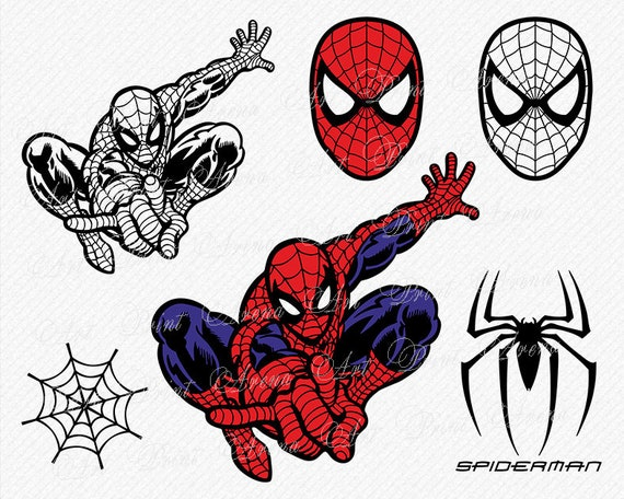 spiderman svg spiderman silhouette spiderman svg files etsy