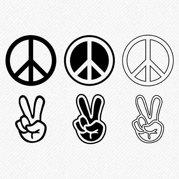 Peace Sign And Finger Svg Cutting Files Etsy