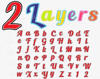 2 layers two layered SVG Fonts font svg bold cursive Cricut Silhouette Cameo clean cutting digital download Layers Alphabet