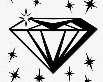 Diamond svg, Diamond clipart, Diamond Silhouette, Cricut Diamond, Diamond Clipart, Cut, Vector digital download, svg, dxf, eps, png