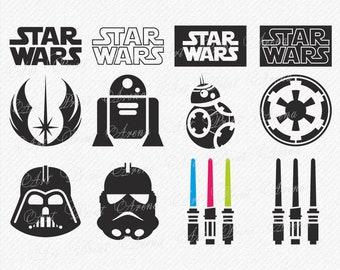 Star Wars SVG, Star Wars Clipart, Darth Vader svg, star wars icons, Force SVG, Star Wars silhouette, Cricut Cut Files, svg, dxf, eps, png