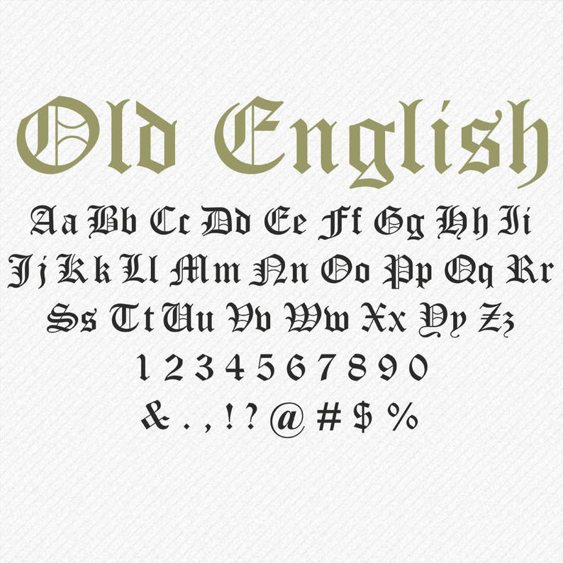 Old English Font SVG, Old English Script, Old English Monogram SVG, Cricut  and Silhouette - svg, eps, dxf, png