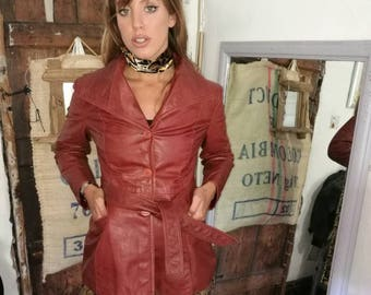 Vintage Burgundy leather trench coat / jacket