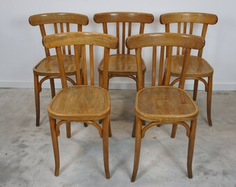 Set of 5 Vintage French Bentwood French Bistro Chairs
