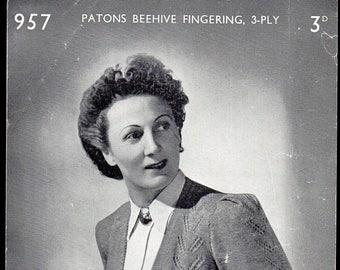 Patons and Baldwin (P and B) Lady's Cardigan Knitting Pttern 957, 1930s