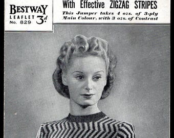 Bestway Lady's Jumper with Zigzag Stripes Knitting Pattern 829, 1930s/40s
