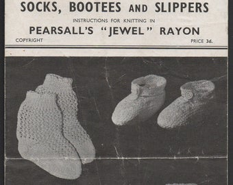 Pearsall's Socks, Bootees and Slippers Knitting Pattern 417, 1940s
