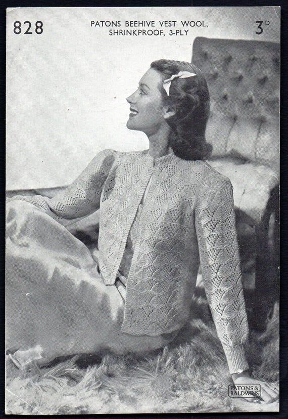 Patons und Baldwin Lady Bett Jacke Strickmuster 828 1930er