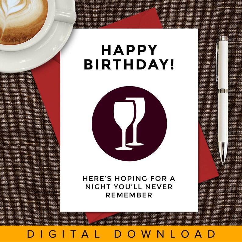 Printable Birthday Card Drinking