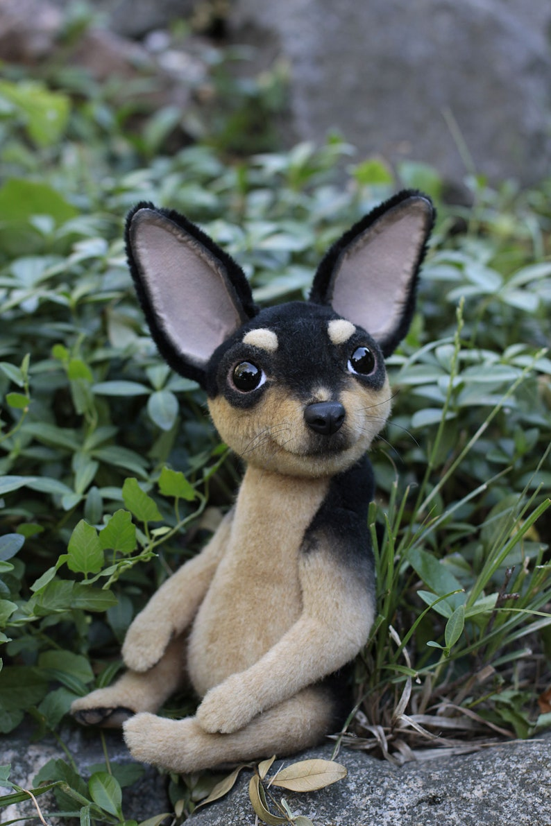 Made to order Realistic stuffed dog Plush chihuahua Soft sculpture artist stuffed teddy chihuahua Handmade toy Collectible art doll