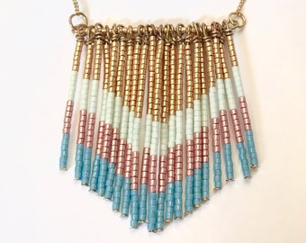 Necklace style flag blue/green/pink/gold glass beads