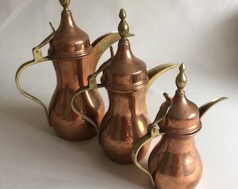 3 Brass and Copper Dallah Coffee Pots