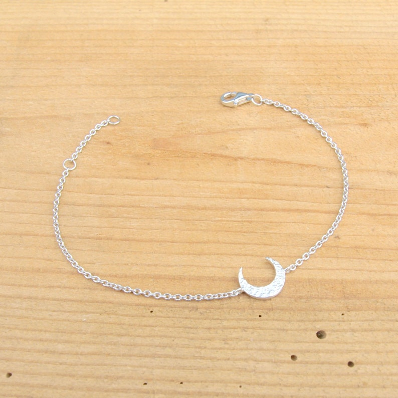 minimalist 925 sterling silver bracelet solid silver bracelet silver moon bracelet silver sterling bracelet Moon bracelet