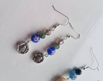 Gypsy Queen floral earrings with natural agate beads