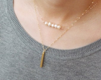 14K Rose Gold, 14KGold Fill Chain Freshwater Pearls Row Necklace. Natural White Peach Color Dainty Necklace. Wedding Gifts For Women Jewelry