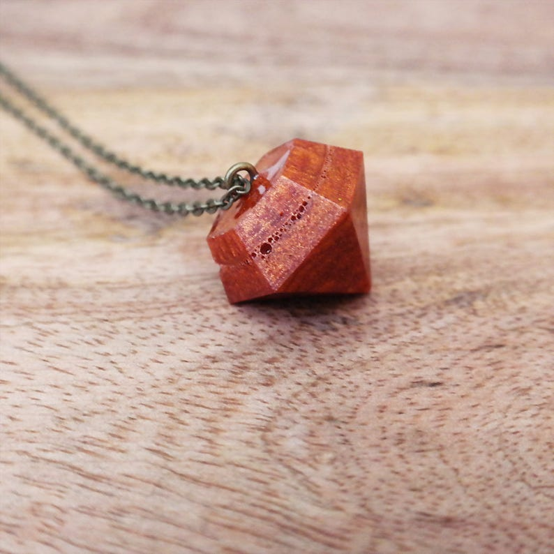 Copper Diamond Eco Resin Necklace Natural Charm Pendant Jewelry For Women /& Girls