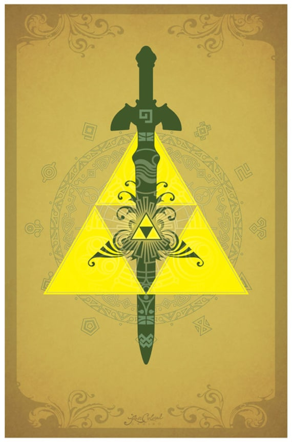The Legend Of Zelda Triforce Symbols Poster Etsy