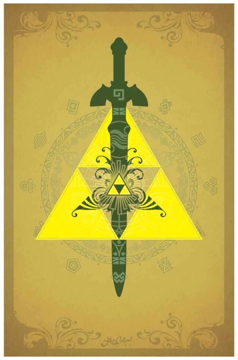 La leyenda de Zelda la Trifuerza símbolos Poster  9fe680b5126