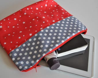 Clutch / pouch large gray and Red