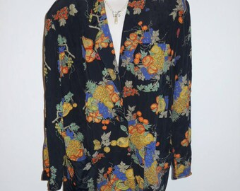 02919f92ab3 Vintage Carole Little Light Jacket ~ 1980 s Black Jacket Blazer ~ Fruit  Design ~ Rayon Jacket~ Black Jacket