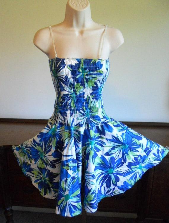 Vintage Blue Smocked Summer Dress ~ 1980's  Circle