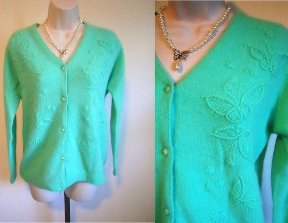 Vintage Mint Green Angora Lambswool Cardigan Sweat