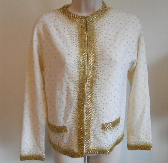Vintage 1950's Beaded Cream Cardigan Sweater ~ 195