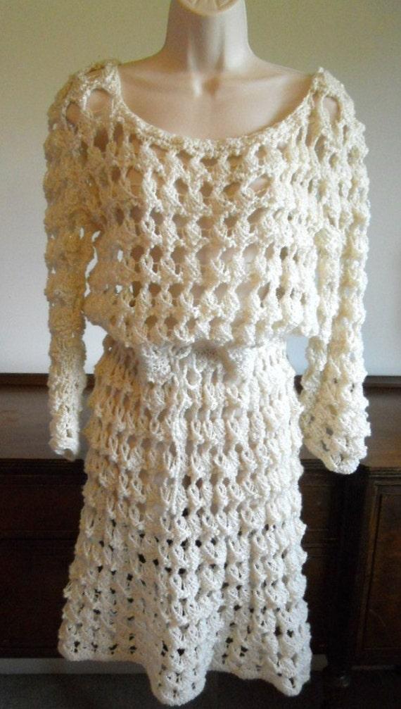 Vintage Crochet Boho Dress ~ 1970's  Crochet Dress