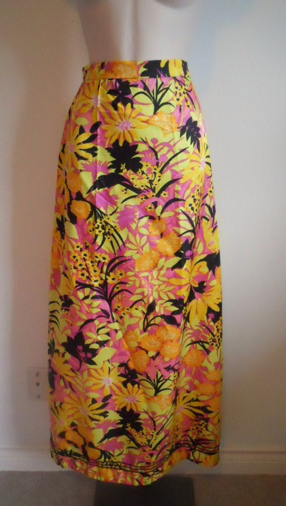 Vintage Tropical Long Floral Skirt ~ 1980's Long S
