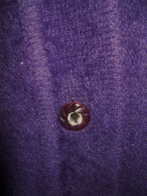 Vintage Purple Angora Cardigan Sweater  Jacket ~ Retro 1980/'s Dark Purple Fuzzy Sweater ~ Fully Lined Sweater ~ Purple Sweater ~ L-XL