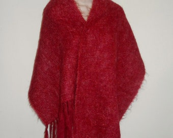 Vintage St Michael Raspberry Red Mohair & Wool Shawl Scarf  ~ Vintage Scarf ~ Vintage Shawl ~ Vintage Red Scarf ~ Vintage Red Shawl