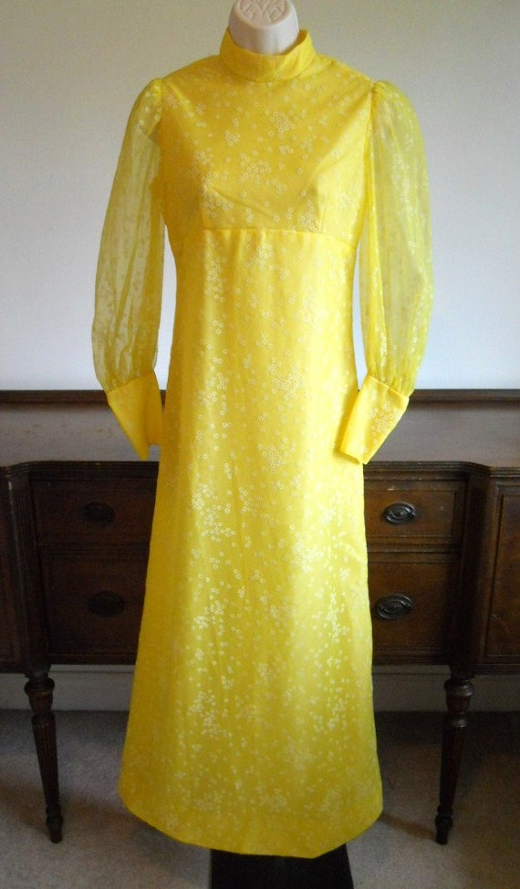 Vintage Yellow Formal Dress ~ 1960's  Yellow Dress