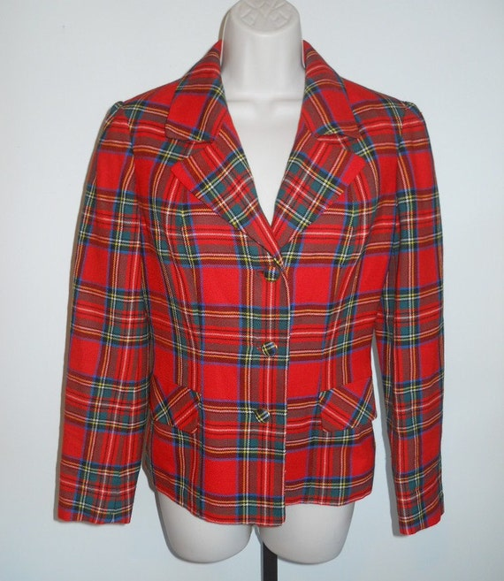 Vintage Plaid Blazer ~  1970's Aljean of Canada ~