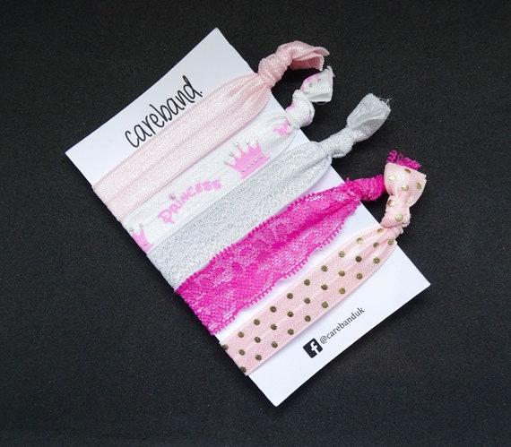 Set of 5  Pink White Princess Print Creaseless Hair Ties No  b90e523c682