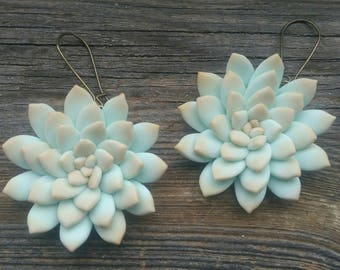 Succulent earrings, Succulent jewelry, Plant earrings, Succulents, Turquoise, Succulent gift, Botanical jewelry, Gift for mom, Nature lover