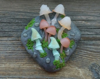 Mashroom brooch, Mashroom jewelry, Fantasy brooch, Stone brooch, Nature brooch, Valentine's Day, Fantasy jewelry, Polymer clay brooch